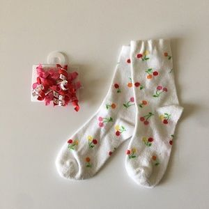 GYMBOREE Girls Cherry Hair Clip & Sock Set